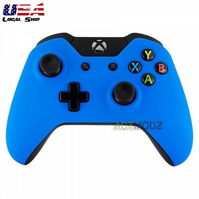 $12.99 • Buy Soft Touch Blue Front Housing Shell Faceplate Case Cover For Xbox One Controller