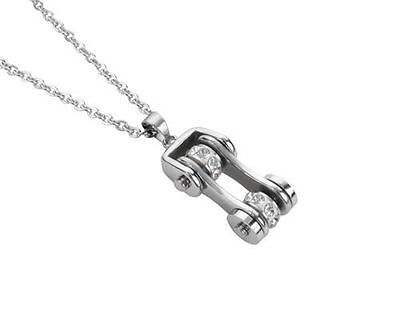 Woman's Biker Stainless Steel Bike Chain Necklace Silver USA Seller! • 14.47£