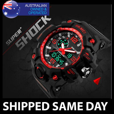 AU19.95 • Buy 1515 MENS WATERPROOF SKMEI DIGITAL SPORTS WATCH Gold Military Water Resistant 55