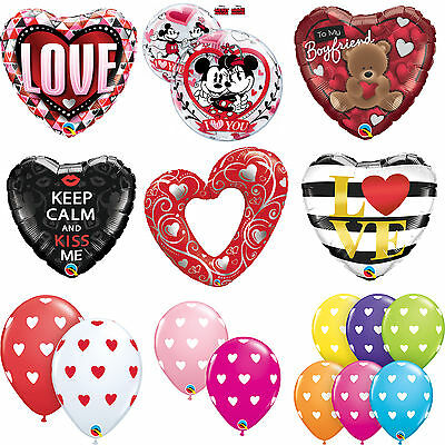 VALENTINES DAY - LOVE THEMED Foil & Latex Balloons - (Qualatex) Gift/Present • 2.49£