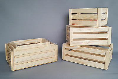 Plain Wood Crate Storage Wooden Box Slatted Crates Craft Decoupage Home Boxes • 4.95£