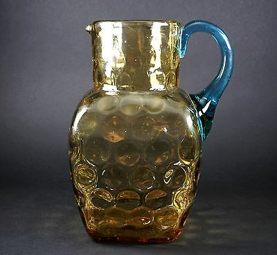 $75 • Buy Antique Thumb Print Glass Topaz And Applied Blue Handle Glass Pitcher