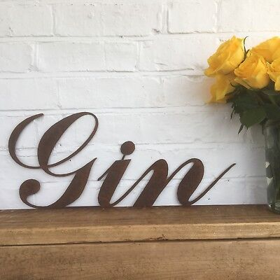 Rusty GIN Lettering Letters Sign Metal Shop Front Home Bar Pub Man Cave Cafe Bar • 34.99£