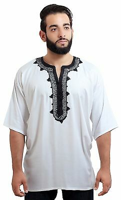 Moroccan Men Tunic Shirt Cafan Casual Handmade Embroidered Cotton Large White • 19.30£