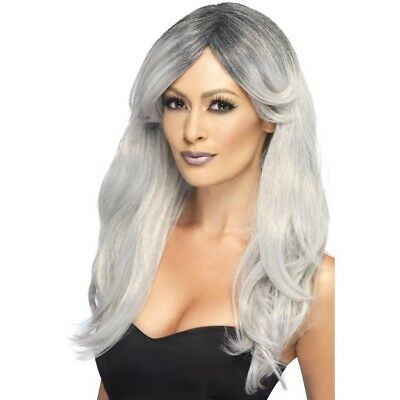 Grey Ombre Ghostly Zombie Bride Wig Ladies Fancy Dress Halloween New • 12.49£