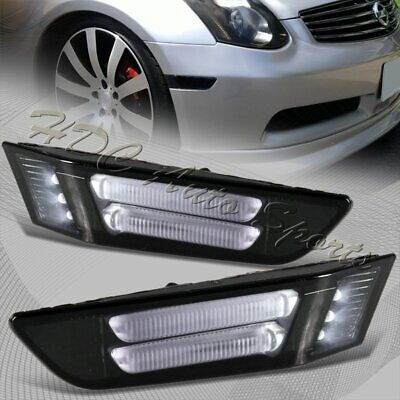 $21.99 • Buy For 2003-2007 Infiniti G35 Coupe Smoke LED Strip Front Bumper Side Marker Lights