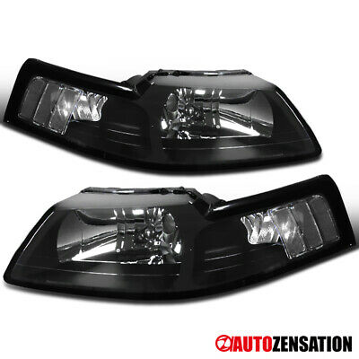 $78.99 • Buy For 1999-2004 Ford Mustang Black Headlights Lamps Replacement Left & Right 99-04