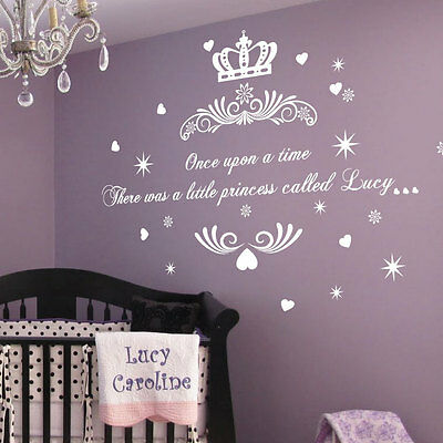 Personalised Once Upon A Time Princess Name Art Wall Quotes Stickers Words Decal • 10.97£