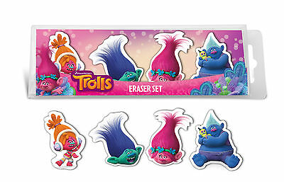 4 X Official Licensed Trolls Erasers School Rubbers Party Bag Fillers • 2.75£