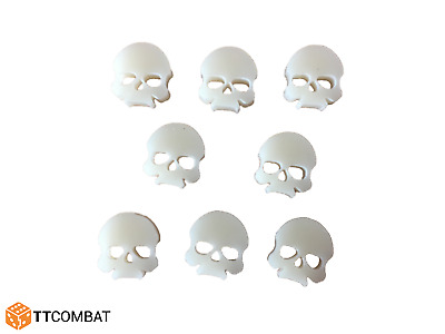 TTCombat Wargames Great For 40k Bone Wound Markers - Ivory Acrylic Skulls X 8 • 1.95£