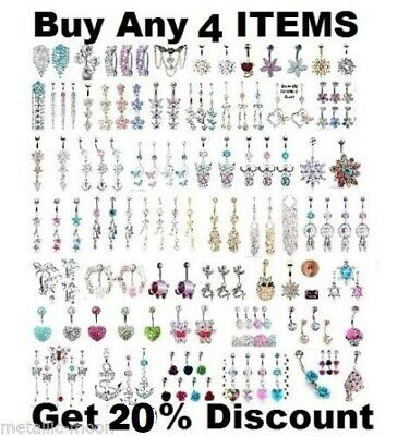 Belly Bars Button Piercing Bar Clear Crystal Top Drop Dangle Belly Button NEW UK • 0.99£