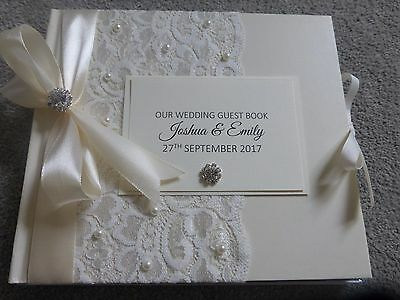 Personalised Wedding Guest Book Vintage Lace Ivory Pearls Presentation Box ** • 22.95£