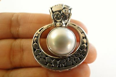 $89 • Buy Round White Mabe Pearl Solitaire 925 Sterling Silver Pendant