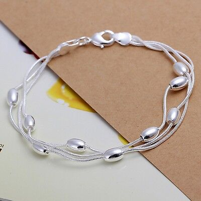 $1.09 • Buy Solid Silver Bracelet Jewelry Cute 925 Wedding Women Bead Bracelet Lady Gift