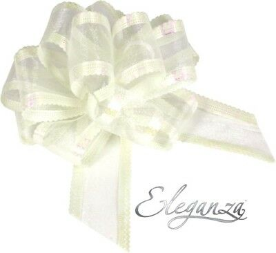 Wedding Car Ribbon & 5 X 50mm Large Pull Bows Organza - Ivory • 4.95£