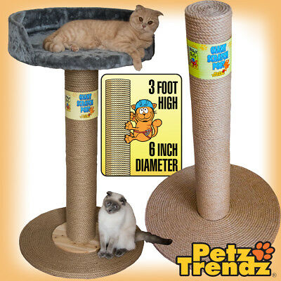 Cat Scratch Post 100% Sisal Rope Giant 3 Foot! (with Or Without Bed) PetzTrendz® • 39.99£