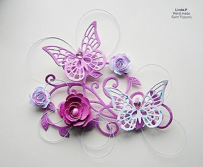 3D  FLOWER, BUTTERFLY AND WIRE CARD TOPPER  GEN 12-1 Pink • 2.50£