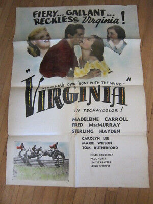 $ CDN98.84 • Buy VIRGINIA Madeline Carrol Sterling Hayden Western 1941 Poster