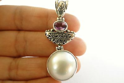 $69 • Buy White Mabe Pearl Purple Amethyst 925 Sterling Silver Pendant