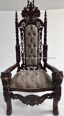 Ornate Large Lion King Throne Chair Mahogany Animal Print Stage Event Dining • 849£