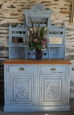 AU1395 • Buy Antique Australian Hand Carved Edwardian Chalk Painted Sideboard Dresser