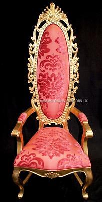 Tall Elegant Milan Throne Hall Chair Feature Gold Leaf Coral Red Fabric Ornate • 899£
