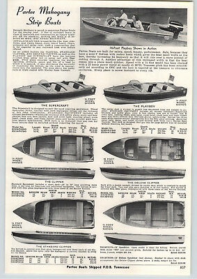 $19.74 • Buy 1957 PAPER AD Partee Mahogany Wood Strip Motor Boat Playboy Majestic Outboard
