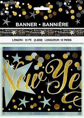 12ft Happy New Year Foil Banner Party Decoration Black Gold Silver New Years Eve • 1.95£