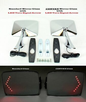 $98.95 • Buy 73-91 Chevy GMC Truck Square LED Turn Signal Outside Rearview Door Mirrors Pair