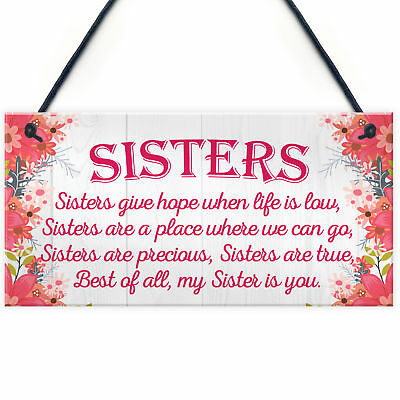 £3.99 • Buy Sister Is You Friendship Best Sister Love Heart Hanging Plaque Family Gift Sign