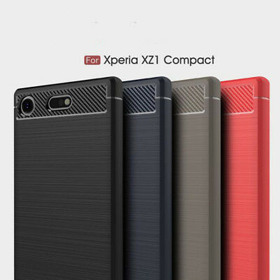 AU3.73 • Buy Shockproof Armor Carbon Fiber Hybrid Brush Case For Sony Xperia XZ1 Compact New