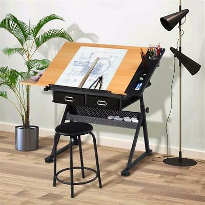 £84.99 • Buy Adjustable Drafting Table Art Craft Drawing Desk W/Stool Architect Desk Stand