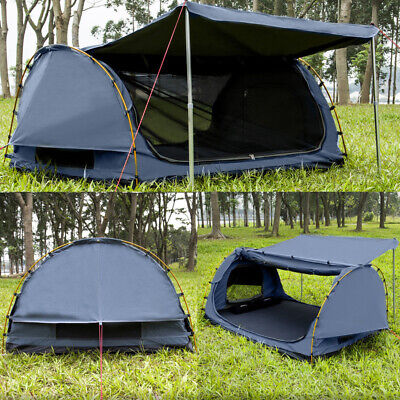 AU245 • Buy Derk Double Camping Swags Canvas Free Standing Dome Tent Navy