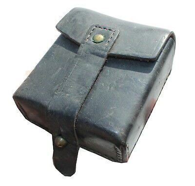 VINTAGE ITALY ITALIAN ARMY AMMO POUCH In BLACK LEATHER • 8£