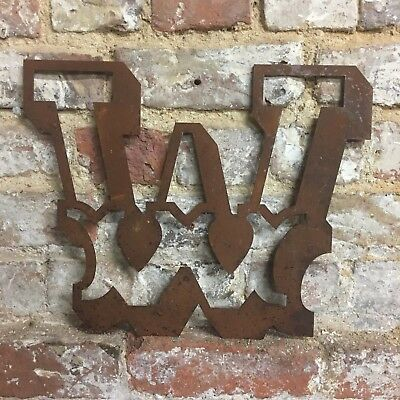 W Rusted Lettering Letters Sign Metal Shop Front 12inch Vintage CARNIVAL CIRCUS • 11.99£