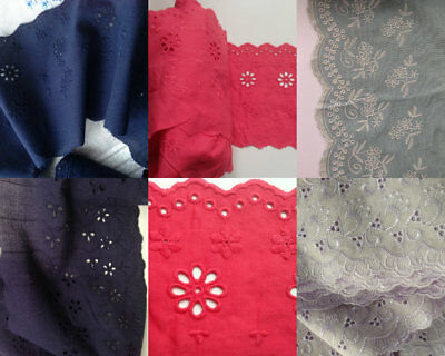 £3.75 • Buy Embroidered Floral Cotton Lace Edge Trim Eyelet Dress Sewing Fabric Craft 1 Yard
