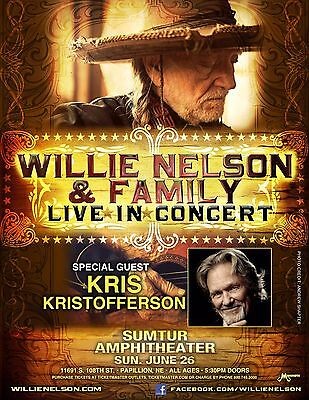$15.83 • Buy WILLIE NELSON & FAMILY/KRIS KRISTOFFERSON 2016 OMAHA CONCERT TOUR POSTER-Country