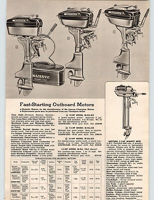 $14.98 • Buy 1955 PAPER AD Majestic Outboard Motor 15 7.5 5.5 3.5 HP Neptune Mighty Mite 1.7