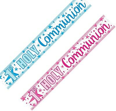 9ft 1st First Holy Communion Sparkly Foil Pink/Blue Banner Party Wall Decoration • 1.89£