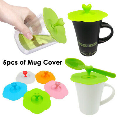 £4.99 • Buy 5pcs Of Cup Cover Lid Silicone Mug Suction Drink Seal Cap Anti Dust Airtight