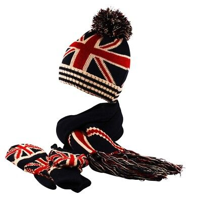 Ribbed Knit GB Union Jack Beanie Fingerless Gloves Mittens Scarf Set Cap Hat   • 6.90£