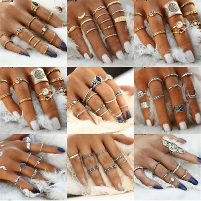 AU1.65 • Buy 12pcs Silver/Gold Boho Stack Plain Above Knuckle Ring Midi Finger Rings Set Gift