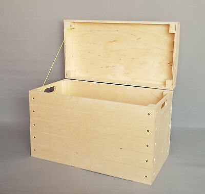 Extra Large Wooden Box Chest Storage Toy Tools Plain Wood Trunk Lid Craft Boxes • 47.99£