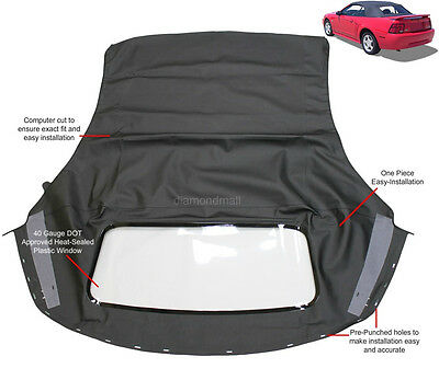 $219 • Buy Ford Mustang Convertible Soft Top With Plastic Window Black Sailcloth 1994-2004