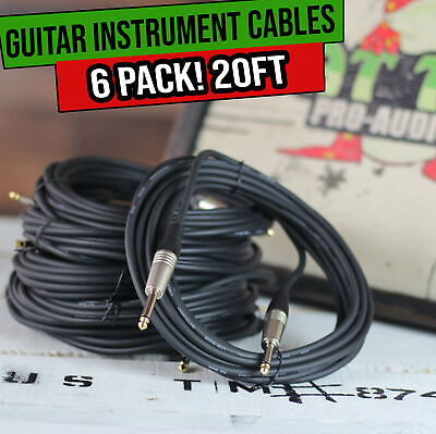 $ CDN40.80 • Buy Guitar Cable Instrument Cord - 6 Pack 20FT Wire Recording Studio Amp 1/4 Jack