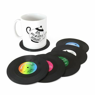 6pc Vinyl Record CD Retro Groovy Drink Coffee Tea Coasters Music Bar Table Mats • 5.87£