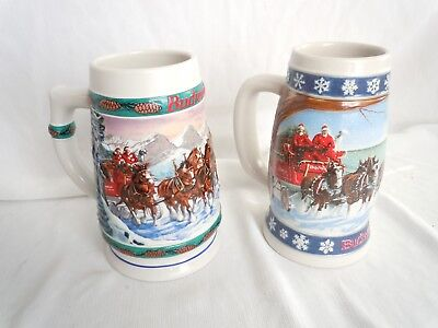 $ CDN24.88 • Buy Budweiser Holiday Stein Collection Set Of 2 Mugs-1993,95 Clydesdale Winter Scene