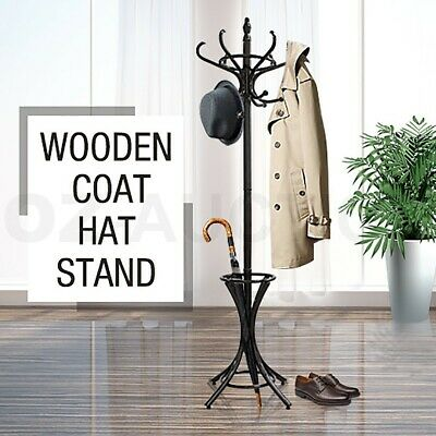 AU59.95 • Buy Tree Style 12 Hooks Hat Coat Clothes Rack Wooden Umbrella Stand Walnut Base Ring