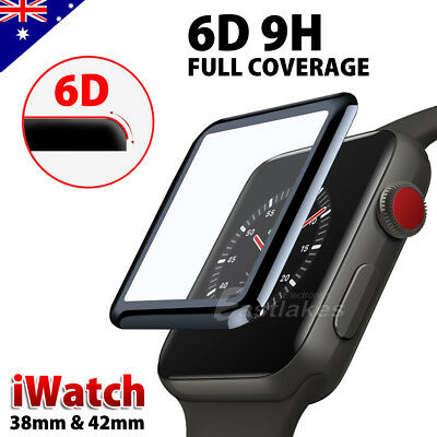 AU4.69 • Buy For Apple Watch 38 & 42 Mm 6D Curved Tempered Glass FULL COVER Screen Protector