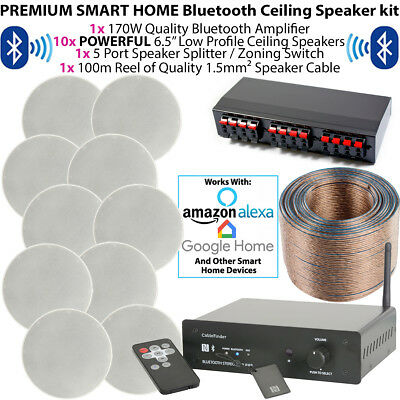 PREMIUM 5 ZONE BLUETOOTH MUSIC KIT - 10x 80W Stereo Ceiling Speakers & Amplifier • 499.99£